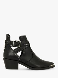 Ted Baker Selania Buckle Detail Leather Western Boots Black