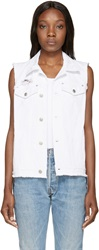 Sjyp White Distressed Denim Vest