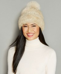 The Fur Vault Fox Pom Knitted Mink Beanie Black