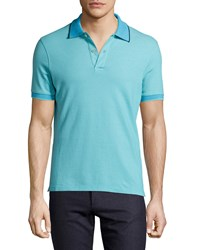 Luciano Barbera Contrast Trim Polo Shirt Teal