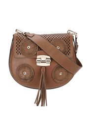 Furla Fringed Detail Satchel Brown