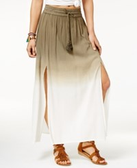 American Rag Printed Double Slit Maxi Skirt Only At Macy's Olive Tie Dye