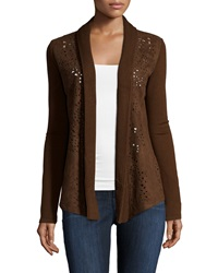 Alberto Makali Laser Cut Open Front Cardigan Dark Brown