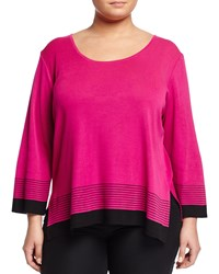 Ming Wang Plus 3 4 Sleeve Round Neck Knit Top Orchid Black