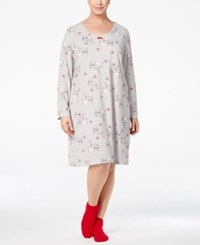 Charter Club Plus Size Printed Sleepshirt And Socks Set Only At Macy's Reindeer