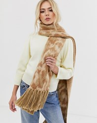 Pieces Abstract Print Chunky Tassel Scarf Brown