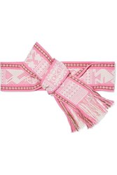 Pippa Holt Fringed Embroidered Cotton Jacquard Waist Belt Pink
