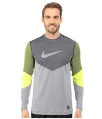 Nike Hyperwarm Dri Fit Max Fitted Lines Long Sleeve Shirt Volt Black Men's T Shirt Yellow