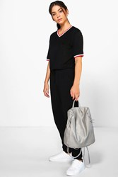 Boohoo Sports Trim Jumpsuit Black
