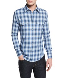 Tom Ford Western Style Check Sport Shirt Blue