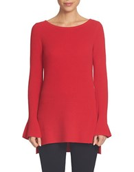 Cece Long Sleeve Ruffle Cuff Tunic Red