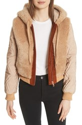 See By Chloe Genuine Shearling Mixed Media Bomber Jacket Chestnut Cream