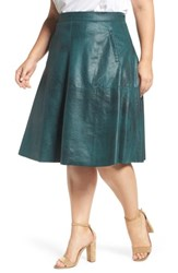 Rebel Wilson X Angels Plus Size Women's Stretch Faux Leather A Line Skirt Sea Moss