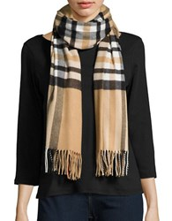 Lord And Taylor Plaid Blanket Wrap Scarf Camel