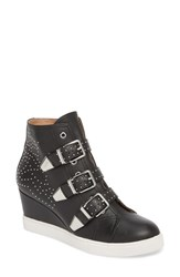 Linea Paolo Fawn Wedge Sneaker Black Leather
