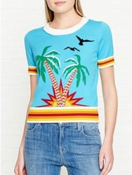 Just Cavalli Palm Trees Knitted Top Blue
