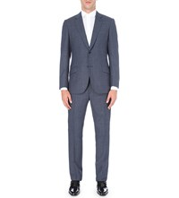 Richard James Check Print Regular Fit Wool Suit Navy