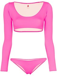 Solid And Striped Colette Long Sleeved Bikini Pink