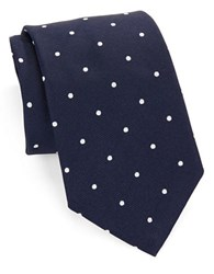 Brooks Brothers Classic Polka Dot Silk Tie Navy