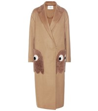 Anya Hindmarch Ghost Wool And Cashmere Blend Coat Beige