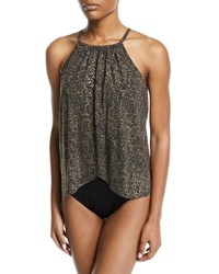 Magicsuit Aubrey High Neck Metallic One Piece Swimsuit Black