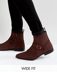 Asos Wide Fit Chelsea Boots In Burgundy Suede With Buckle Detail And Zips Burgundy Red