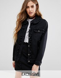 Reclaimed Vintage Denim Jacket With Frill Detail Co Ord Black