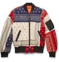 Kapital Patchwork Wool Bomber Jacket Red