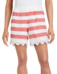 Kensie Lace Trimmed Striped Shorts Red
