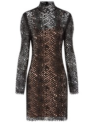 Alexander Wang Black Lace Turtleneck Mini Dress