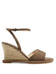 Bottega Veneta Intrecciato Suede Espadrille Wedge Sandals Grey