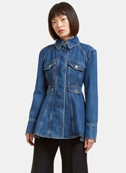 Ellery Pro Protest Peplum Denim Jacket Blue