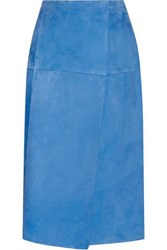 Protagonist Wrap Effect Suede Skirt Bright Blue