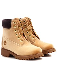 Off White X Timberland Velvet Ankle Boots Beige