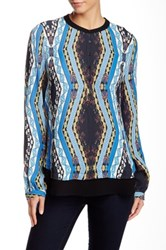 Twelfth St. By Cynthia Vincent Henley Blouse Blue