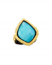 Armenta Old World 18K Turquoise And Moonstone Kite Cocktail Ring Multi