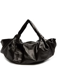 The Row Ascot Leather Tote Black