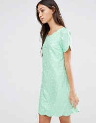 Traffic People Scallop Dress In Jacquard Mint Blue