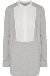 Vince Paneled Cotton And Modal Blend Jersey Top Gray