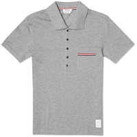 Thom Browne Pique Pocket Stripe Polo Light Grey