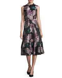 Co Belted Floral Brocade Sleeveless Flounce Dress Multi