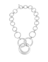 Robert Lee Morris Hammered Texture Silverplated Circle Link Necklace