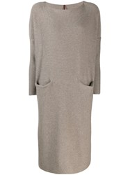 Daniela Gregis Oversized Knit Dress Brown