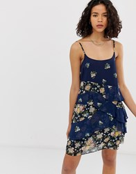 Pepe Jeans Mixed Floral Layered Mini Dress Navy