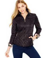 Betsey Johnson Contrast Cuff Quilted Jacket Black