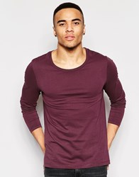 Asos Long Sleeve T Shirt With Scoop Neck In Purple Purple