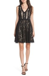 Heartloom Sienna Lace Fit And Flare Dress Black