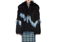 Dries Van Noten Feather Trimmed Faux Shearling Jacket Black