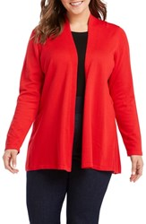 Foxcroft Plus Size Phillis Jersey Cardigan Red Lacquer