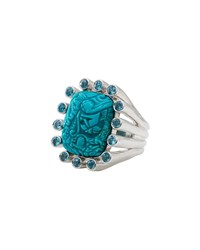 Stephen Dweck Carved Turquoise And Blue Topaz Ring